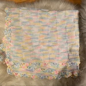 Hand knit baby afghan blanket throw